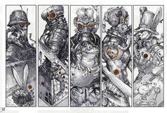 Illustration by daxue Ding Steampunk Illustration, Illustration Art, Graphic Illustrations, Character Concept, Concept Art, Character Reference, Art Reference, Environmental Art, Horror Art