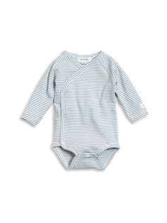 Soft and cosy striped baby body with long sleeves. Wrap design with buttons makes for quick and easy dressing.