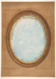 Design for a ceiling with trompe loeil balustrade and sky - Jules-Edmond-Charles Lachaise (French, died 1897)