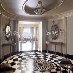 Oh another round room....love it!  black and white tiles...oh my..perfect..