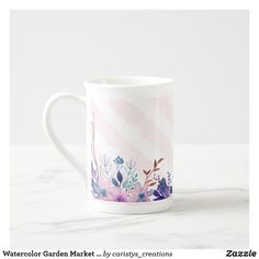 Watercolor Garden Market Bone China Mug Create Your Own Card, Create Yourself, Great Housewarming Gifts, Porcelain Mugs, China Mugs, Candy Jars, Diy Face Mask, Dog Design, Nursery Wall Art