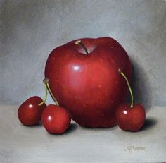 """Red Apple and Cherries"" - Original Fine Art for Sale - © Jordan Avery Foster"