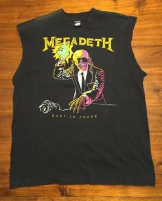fab5be99 Vintage Megadeth Sleeveless T-shirt Black Size XL Tank Top Cut Off Band  Tour USA
