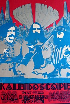 The Fugs with Kaleidoscope (featuring David Lindley) and the Family Tree at the Crystal Ballroom in Portland, OR on 5/3/1968. Art by San Andreas Fault (Tad Hunter)