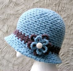 Blue Crochet Cloche Hat with Flower  Womans by TheHappyCrocheter, $35.00