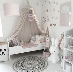 Adorable Girl's bedroom decor, pale pink and white. Baby Bedroom, Baby Room Decor, Girls Bedroom, Toddler Rooms, Kids Rooms, Toddler Girl, Girl Bedroom Designs, Bedroom Ideas, Bedroom Decor