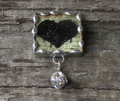 Black Glitter Heart 1 Inch Glass Soldered by MablesGranddaughter, $15.00