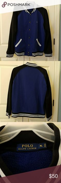 Polo Ralph Lauren Fleece Baseball Jacket EUC Really nice fleece baseball jacket.  Body is a dark royal blue.  Sleeves are black.  White trim.  Snaps down front and has two front pockets.  Only worn a couple times.  No flaws. Polo by Ralph Lauren Jackets & Coats Bomber & Varsity