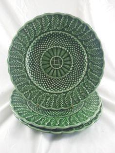 Bordallo Pinheiro Basketweave Majolica Plates Green Set Of 3 By Acornabbey On Etsy