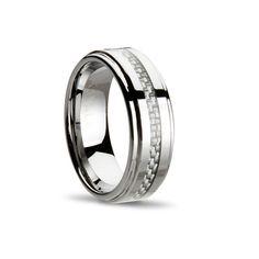 Carbon Fiber Weave Ring // Silver (Size 9)