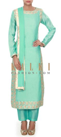 Buy Online from the link below. We ship worldwide (Free Shipping over US$100) Price-$219 Click Anywhere to Tag http://www.kalkifashion.com/sky-blue-straight-suit-adorn-in-gotta-patch-work-only-on-kalki.html
