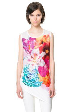 CAMISETA PRINT FLORES - Camisetas - Mujer - ZARA España
