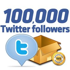Buy real and cheap 100,000 Twitter Followers and boost your social presence on TWITTER. www.instant-famous.com will deliver within 10 days the highest quality of Twitter followers at cheapest prices ever seen on market 1K = $1