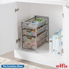 Available only at The Container Store, our Elfa X-Narrow Cabinet-Sized Drawers are one of our most popular Elfa Drawer Unit combinations and is ideal for use under a bathroom sink or gameroom cabinet. It features two 1-Runner Mesh Drawers and one 2-Runner Mesh Drawer to store everything from cleaning supplies to toys. Under Cabinet Storage, Office Storage, Closet Drawers, Pull Out Drawers, Small Space Organization, Kitchen Organization, Organizing, Narrow Cabinet, Drawer Unit