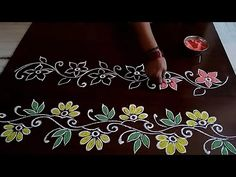 3 beautiful and// simple boarders for festival rangolis // Rangoli Side Designs, Rangoli Designs Simple Diwali, Simple Rangoli Border Designs, Rangoli Designs Latest, Boarder Designs, Rangoli Borders, Free Hand Rangoli Design, Small Rangoli, Rangoli Designs With Dots