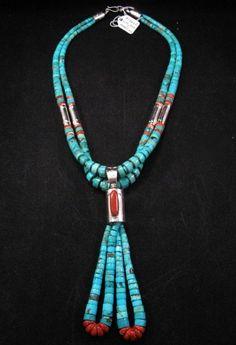 Santo Domingo Kewa Turquoise Ceremonial Necklace - Lupe Pena & Nestoria Coriz