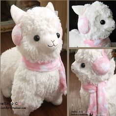 Arpakasso Alpacasso Alpaca Plush white winter scraf music angle toy doll (50cm)