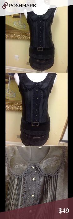 Anna Sui Stunning black dress size XS by Anna Sui. Silky fabric, velvet with buckle attached design, great style, low price. Anna Sui Dresses Mini