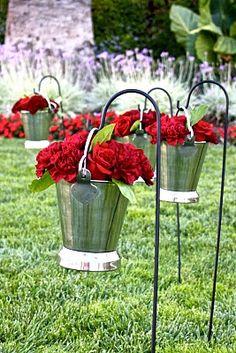 Cute idea for the aisle pathway of a garden wedding
