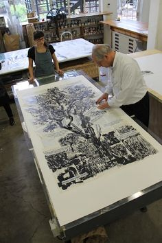 William Kentridge trees large scale piece, detailed work. i could print onto a ground such as book pages that reflect on my ideas. if i were to create self improvement illustrations on organising i could print on fabrics or notes, or folder. this conveys organisation.