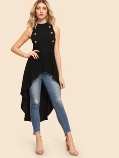 SheIn offers Double Button Embellished Dip Hem Shell Top & more to fit your fashionable needs. Big Fashion, Womens Fashion, Ladies Fashion, Fashion Black, Fashion Styles, Mode Chic, Shell Tops, Asymmetrical Tops, Black Blouse