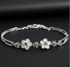 Excellent 100% A Grade Natural Jade/Jadeite 925 Sterling Silver Flower Bracelet
