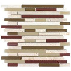 Elida x Glass Mosaic Harvest Field Brick Mixed Material (Stone and Glass) Wall Tile Stone Mosaic Tile, Mosaic Wall Tiles, Kitchen Wall Tiles, Marble Mosaic, Mosaic Glass, Glass Tiles, Kitchen Backsplash, Install Backsplash, Grey Glass