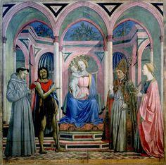 DOMENICO VENEZIANO (1410-1461) Madonna z dzieciątkiem i świętymi, tempera na desce, 209x213 cm, 1445, Uffizi