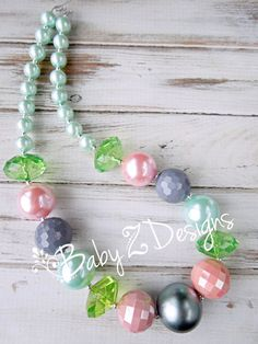 Mint Green Pink Grey and Green  Chunky Necklace M2M Matilda Jane's Hello Lovely Collection by babyzdesigns