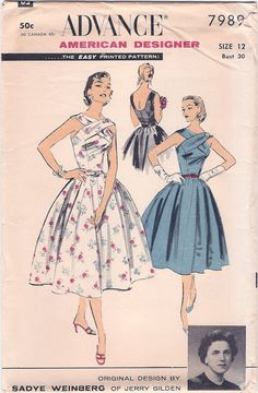 c1f5110e1c541 Amazing Uncut Vintage 1950s Advance American by NostalgieVintage Vintage  Dress Patterns