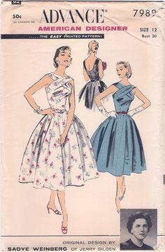 Amazing Uncut Vintage 1950s Advance American Designer Sadye Weinberg Jerry Gilden Criss-Cross Sun or Party Dress Sewing Pattern
