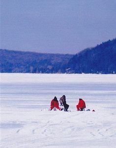 Ice fishing on Crystal Lake, Michigan