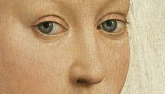 Rogier van der Weyden, Portrait of a Woman with a Winged Bonnet (details), c. 1440  CRAQUELADO DE COTA DE MALLA