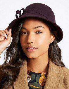 206a9e8c612 Pure Wool Velvet Bow Cloche Winter Hat