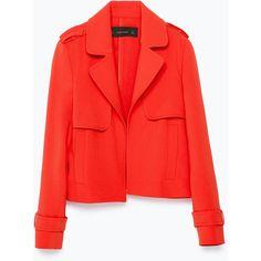 Zara Short Blazer With Lapel (2.265 RUB) ❤ liked on Polyvore