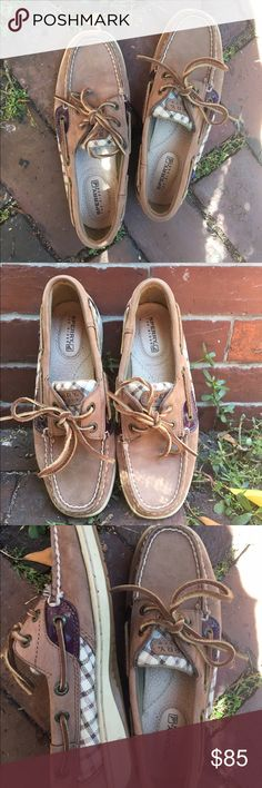 Purple & Tan Leather Sperry Top-sider Boat Shoes Size 5 in women's. They were only worn 5 times so they are in mint condition! They are soooo comfy and really cute. Sperry Top-Sider Shoes Flats & Loafers