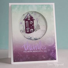 Bo Bunny Altitude PP, greeting from the Winter Wishes Stamp Set: SSS, Grape Fizz Perfect Pearls on sentiment, winter
