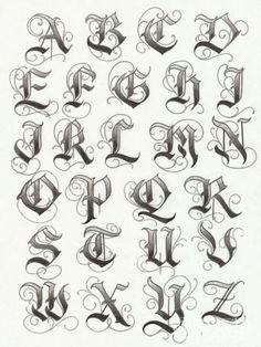 letras para tatuajes, plantilla de fuente para tatuajes estilo inglés antiguo, alfabeto con mayúsculas