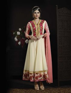 Thankar Latetst Embroidered Designer White And Pink Anarkali Suits