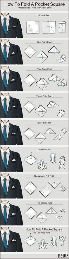 Are you wondering why you'd wear a pocket square? Step-by-step instructions for every pocket square fold you could ever want! How To Fold A Pocket Square 9 Different Ways Pocket Square Folds, Pocket Square Styles, Men's Pocket Squares, Trendy Mens Fashion, Mens Fashion Shoes, Men's Fashion, Fashion Outfits, Lady Rockers, Hair Without Heat