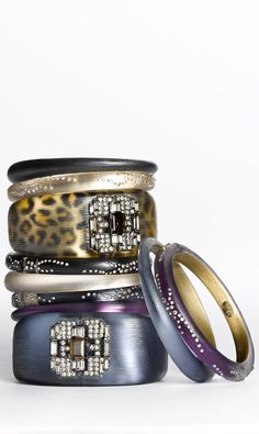 Alexis Bittar Leopard & Colored Bangles