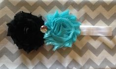 Shabby black & blue flower headband-baby by SweetDarlinBoutique1