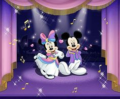 Mickey & Minnie hosting a party in the ballroom.