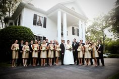 Wedding reception at The Duncan Estate in Spartanburg, SC // Champagne mismatches bridesmaids dresses from Lula Kate