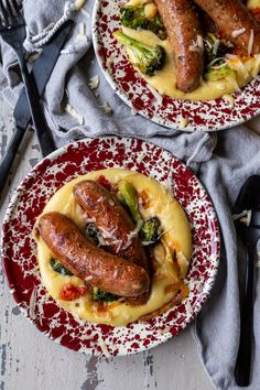 Easy Skillet Roasted Broccoli and Sausage With Polenta | Country Cleaver Entree Recipes, Grilling Recipes, Veggie Recipes, Brunch Recipes, Asian Recipes, Beef Recipes, Polenta, Broccoli, Sausage