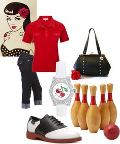 A fashion look from January 2013 featuring short-sleeve button-down shirts, flat shoes and long bags. Browse and shop related looks. Pin Up Outfits, Fashion Outfits, Rockabilly Fashion, Rockabilly Style, Ugly Shoes, Retro Costume, Casual Cosplay, Psychobilly, Vintage Hairstyles