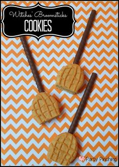 Witches' Broomsticks Cookies - Party Planning - Party Ideas - Cute Food - Holiday Ideas -Tablescapes - Special Occasions And Events - Party Pinching Halloween Desserts, Halloween Goodies, Halloween Food For Party, Halloween Birthday, Holidays Halloween, Halloween Kids, Halloween Crafts, Happy Halloween, Holiday Treats