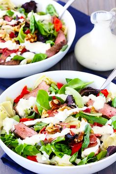 Steak & Artichoke Salad with Blue Cheese Dressing -- one of my all-time favs!   gimmesomeoven.com