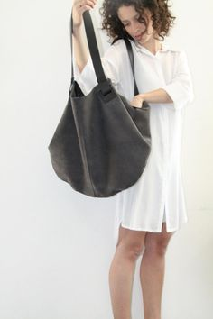 Dark Grey Leather Tote Bag- Soft Leather Bag - Big Gray Nubuck  Leather Bag - Shoulder Bag - Over Size Bag - Carolina Bag