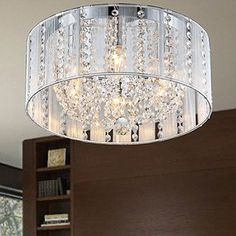 Addison 6-light White 16-inch Crystal Flush Mount | Overstock.com Shopping - The Best Deals on Chandeliers & Pendants